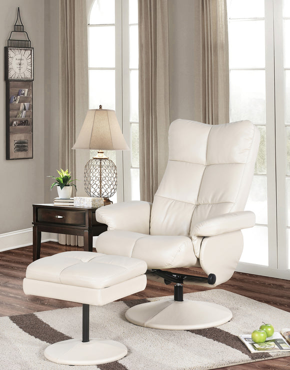 Cream White or Dark Brown Reclining Relax Chair & Ottoman With Storage - Pilaster Designs