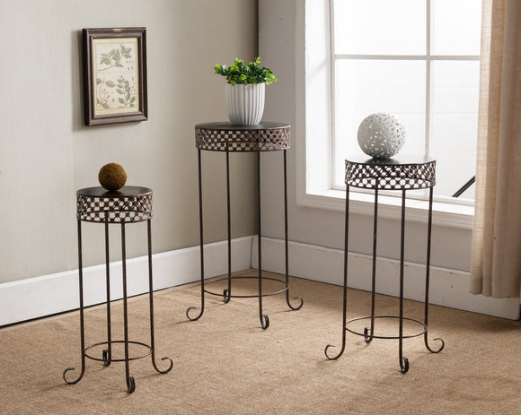 Talon 3 Piece Side Table Set, Brushed Copper Metal