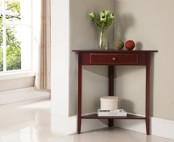 Ulma Corner Side Table, Walnut Wood