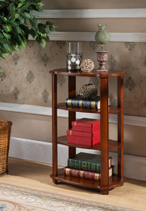 Olinda Walnut Wood 3 Tier Accent Side End Plant Stand Display Table With Storage Shelves - Pilaster Designs