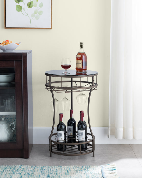 Wichita Side Table, Pewter Metal & Black Tempered Glass