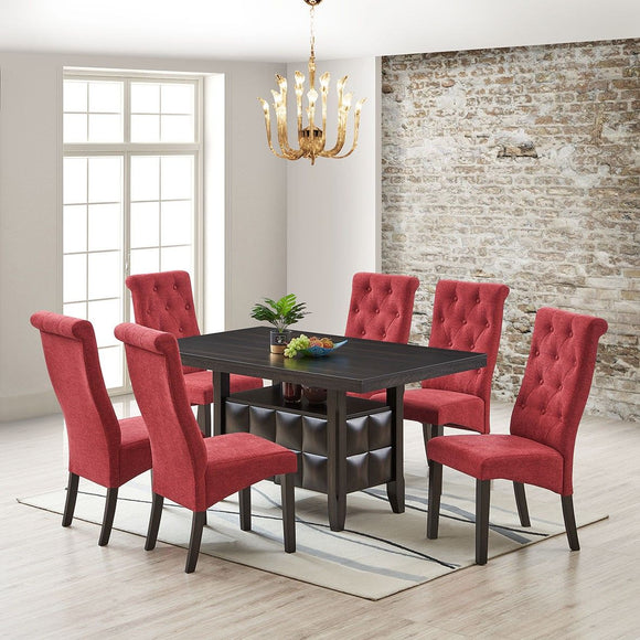 Huxley 7 Piece Dining Set, Black Wood & Red Fabric