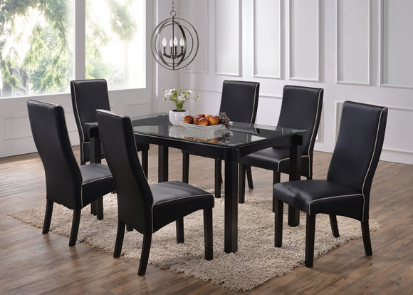 5 or 7 Piece Cappuccino Wood & Glass Rectangular Kitchen Dinette Dining Table & Upholstered Parsons Side Chairs Set - Pilaster Designs