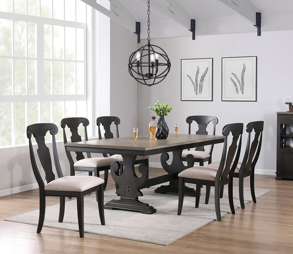 Frates 7 Piece Dining Set, Black & Brown Wood