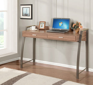 Cassidy Natural Wood & Metal Home & Office Computer Workstation Desk With 2 Storage Drawers - Pilaster Designs