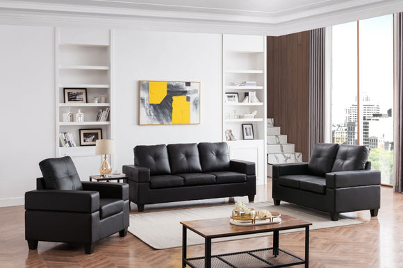 Boutwell 3 Piece Living Room Set, Black Faux Leather