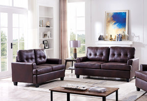Molina 2 Piece Living Room Set, Brown Faux Leather