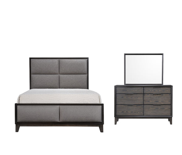 Consuelo 3 Piece Upholstered Bedroom Set, Queen, Gray Wood
