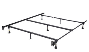 Metal Adjustable Queen, Full, Full XL, Twin, Twin XL, Heavy Duty Bed Frame With Center Support Rail & 7 Legs (Glides Only) - Pilaster Designs