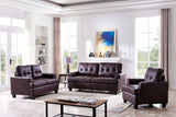 Molina 3 Piece Living Room Set, Brown Faux Leather