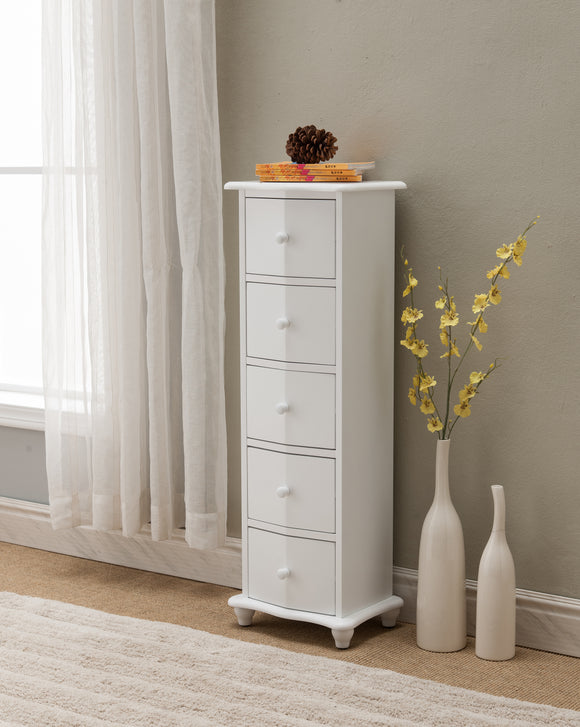 Declan 5 Drawer Accent Chest, White Wood