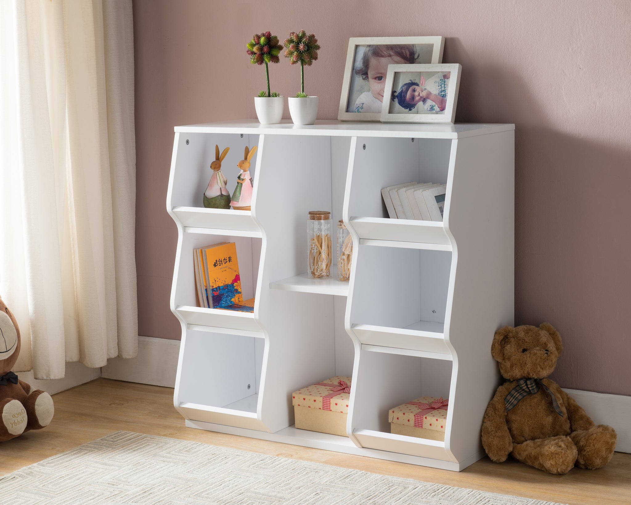 White Wood 8 Shelf Contemporary Kids Bookcase Storage Display Cubby Unit ...