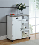 Brody Serving Cart, White & Marble Wood