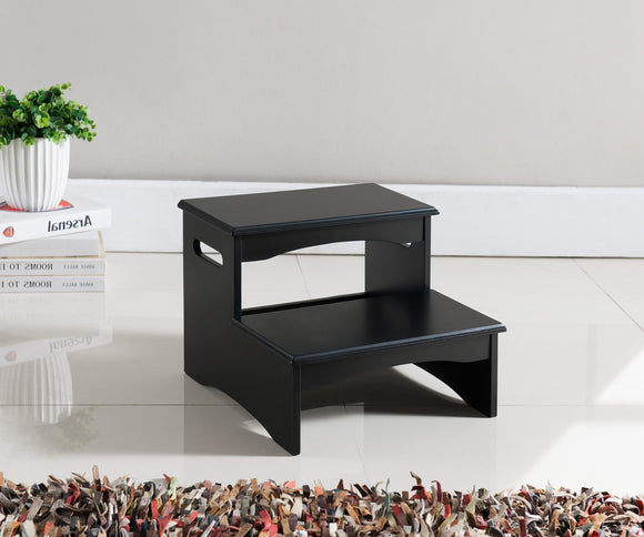 Black Wood 12-Inch Contemporary Bedroom Step Stool Display - Pilaster Designs