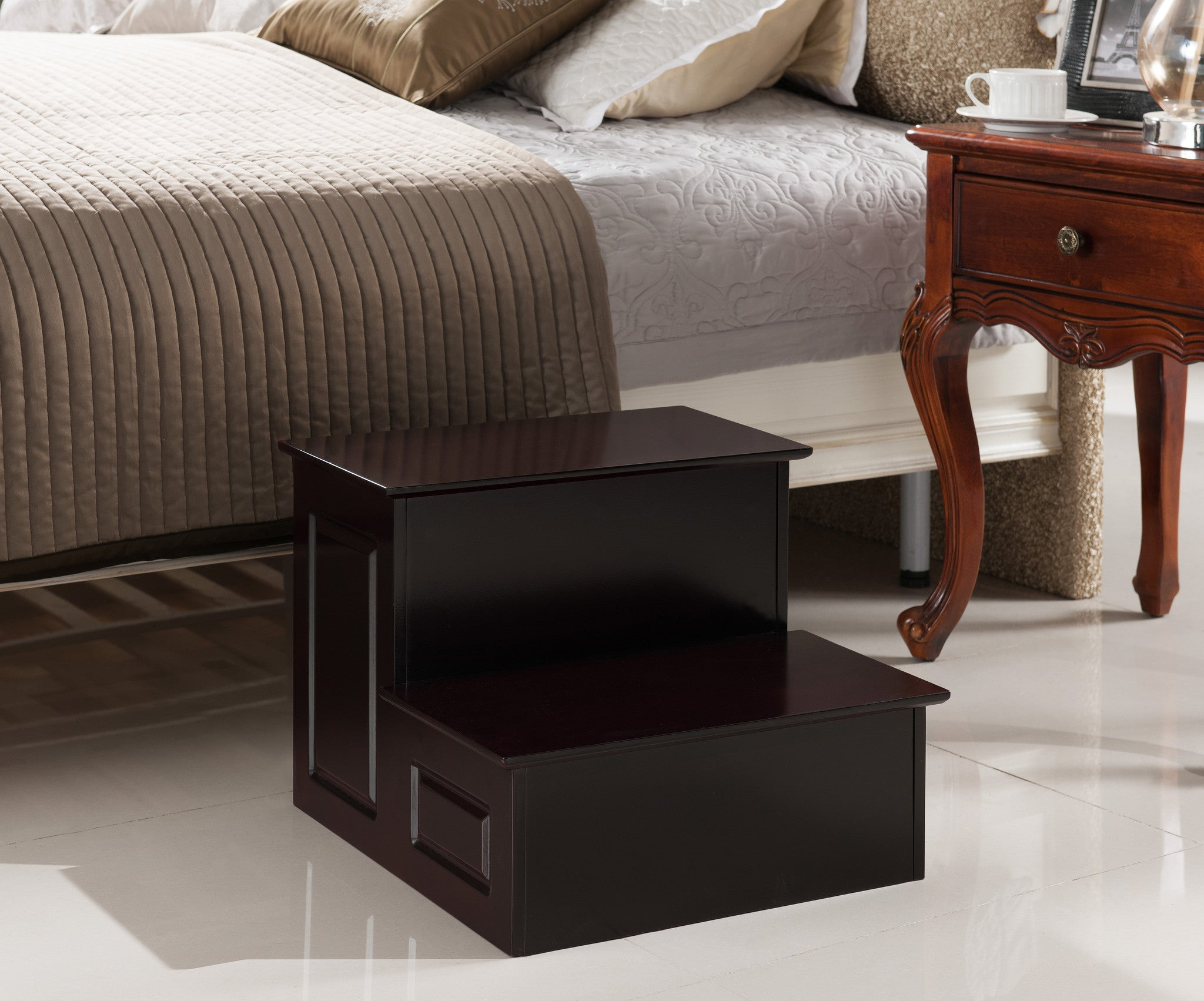 Pilaster Designs Cherry Finish Large Wood Bedroom Step Stool
