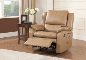 Brown Faux Leather Electric Massage Recliner Armchair Lounge Seat (Metal Frame) - Pilaster Designs