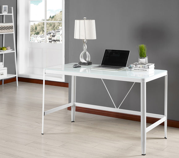 Makenna Metal & Glass Modern Home & Office Computer Desk Workstation (Black, White) - Pilaster Designs