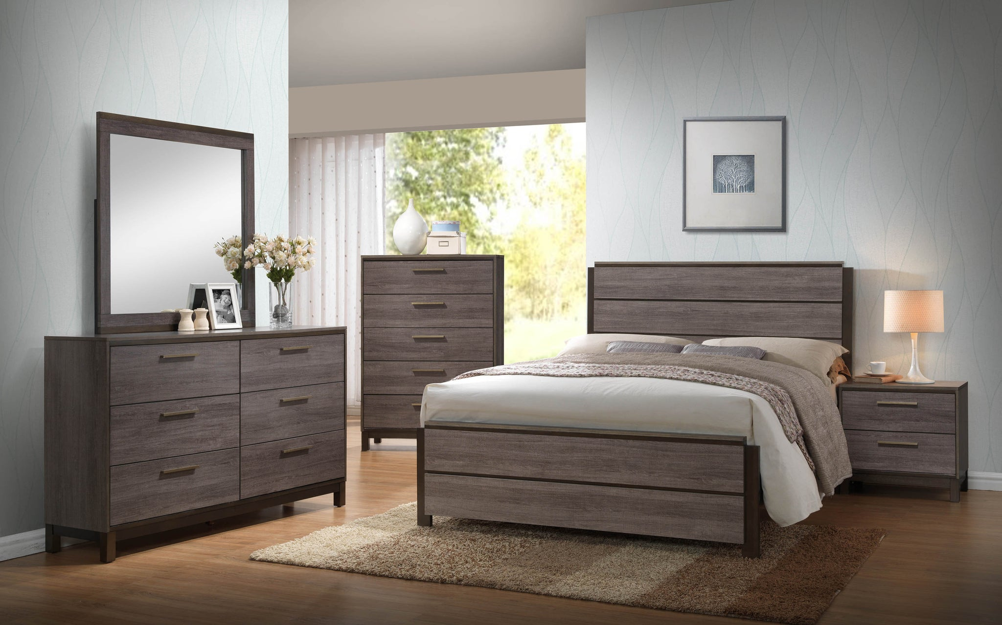 Antique gray wood king or queen size configurable modern panel bedroom set bed dresser for Grey wood bedroom furniture set