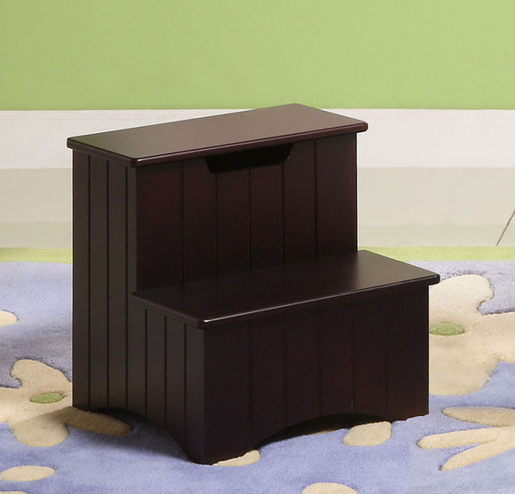 Merlot or White Wood 13-Inch Storage Bedroom Step Stool Organizer - Pilaster Designs