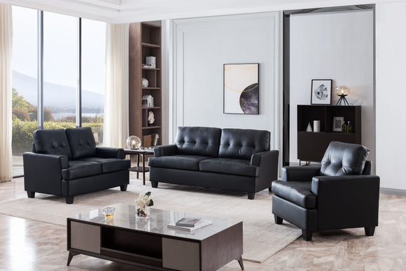 Molina 3 Piece Living Room Set, Black Faux Leather
