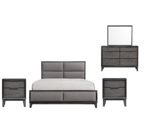 Consuelo 5 Piece Upholstered Bedroom Set, King, Gray Wood