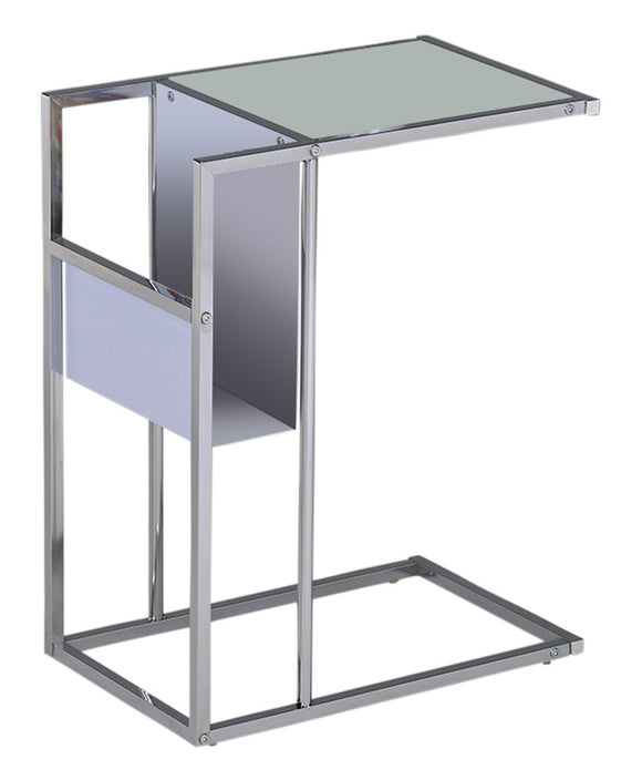 Nahoko Glass & Chrome Accent Side Snack Display Table With Magazine Rack Storage (Black, White) - Pilaster Designs