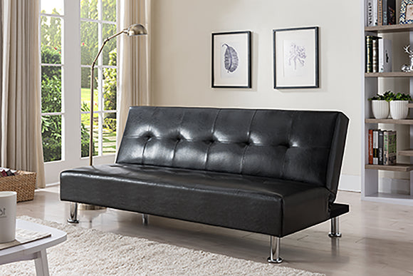 Lane Black Faux Leather Transitional Adjustable Back Klick Klak Sofa Futon Sleeper Bed (Wood Frame) - Pilaster Designs