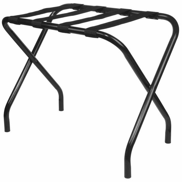 27-Inch Black Metal Contemporary Foldable Luggage Rack Stand With Nylon Belts - Pilaster Designs