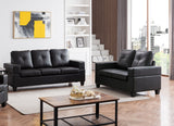 Boutwell 2 Piece Living Room Set, Black Faux Leather