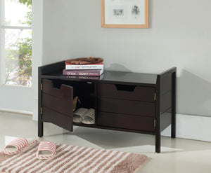 Espresso Wood Contemporary Entryway Shoe Bench Display With Storage Cabinet - Pilaster Designs