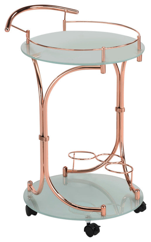 Weston Serving Cart, Rose Gold Metal & Frosted Tempered Glass