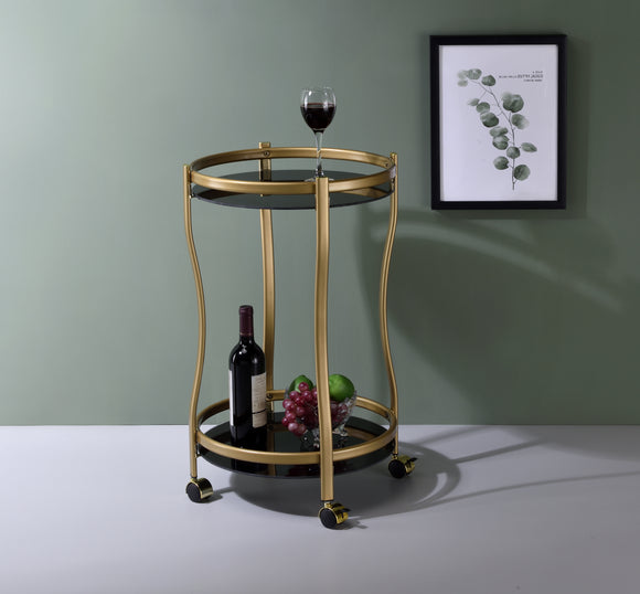 Silvia Serving Cart, Gold Metal & Black Tempered Glass