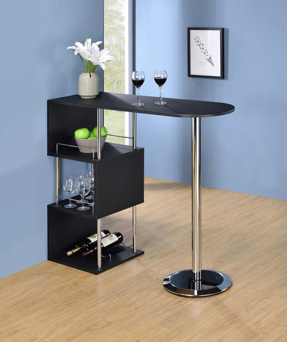 Lapeer Bar Table, Black Wood & Chrome Metal