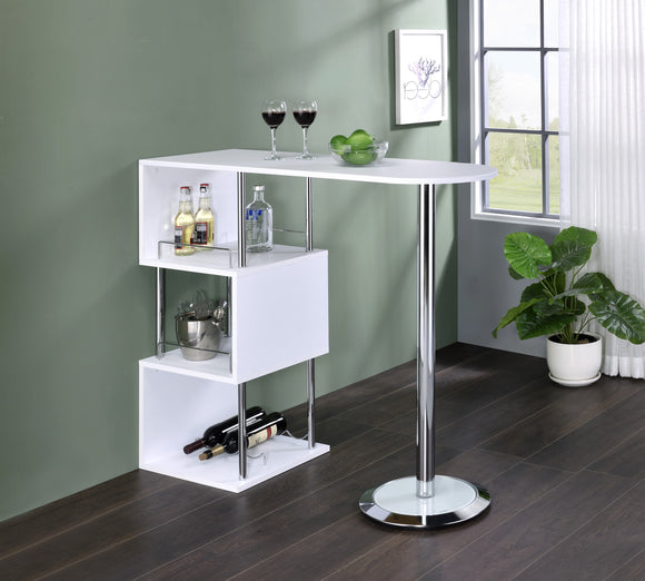 Lapeer Bar Table, White Wood & Chrome Metal