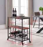 Cologne Serving Cart, Black Metal & Marble Wood