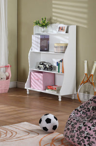 Marie 4 Tier Bookcase, White Wood