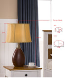 Vienna Table Lamp Set, Walnut & Gold Fabric