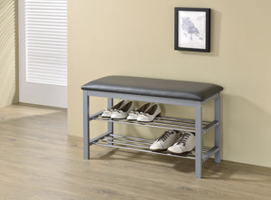 Aadvik Shoe Bench, Gray Vinyl & Wood