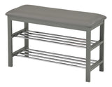 Gray Vinyl & Wood Frame 2 Tier Transitional Shoe Rack Organizer Display Bench With Chrome Metal Racks - Pilaster Designs