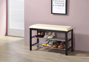 Aadvik Shoe Bench, Beige Vinyl & Walnut Wood