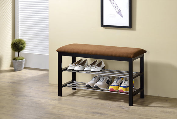 Aadvik Shoe Bench, Dark Brown Microfiber & Black Wood