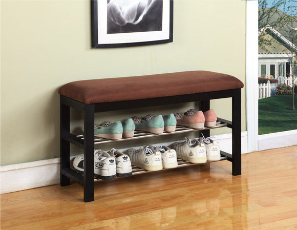 Tulia Shoe Rack Bench, Dark Brown Microfiber & Black Wood