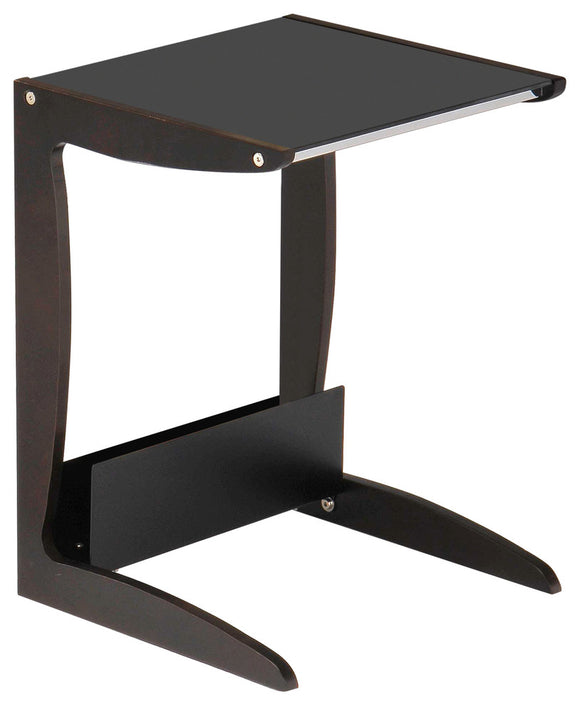 Naina Sofa Table, Walnut Wood & Black Tempered Glass
