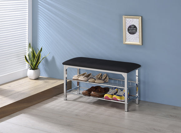 Elmina Shoe Bench, Black Vinyl & Chrome Metal