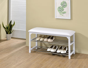 Harney Shoe Bench, White Vinyl & Wood