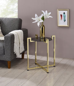 Hendon Side Table, Black Tempered Glass & Brass Metal