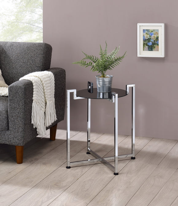 Hendon Side Table, Black Tempered Glass & Chrome Metal