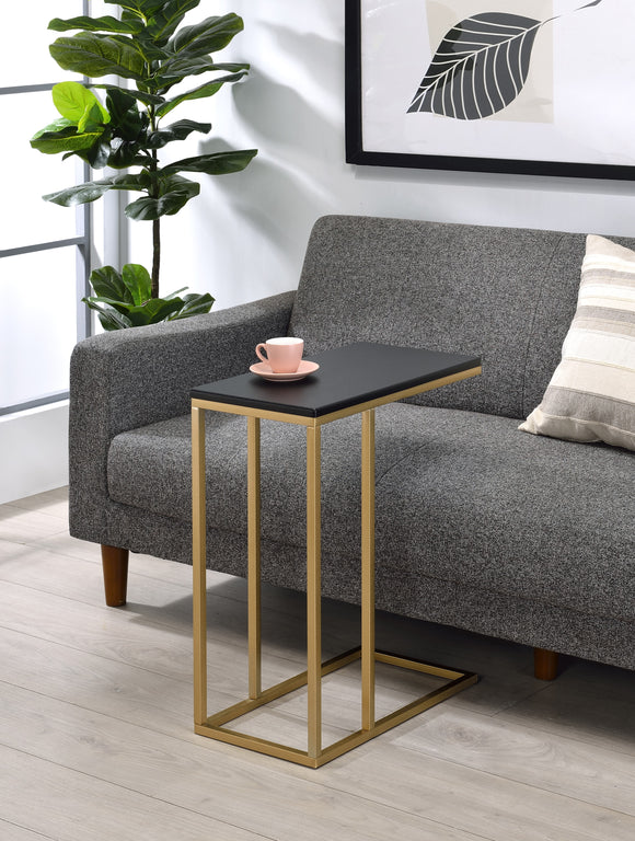 Fresnay Sofa Table, Gold Metal & Black Wood