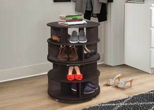 Furinno Chocolate Wood Revolving 4 Tier Shoe Rack Carousel - Pilaster Designs