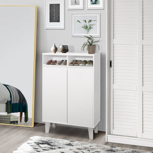 Yaiza Shoe Cabinet, White Wood
